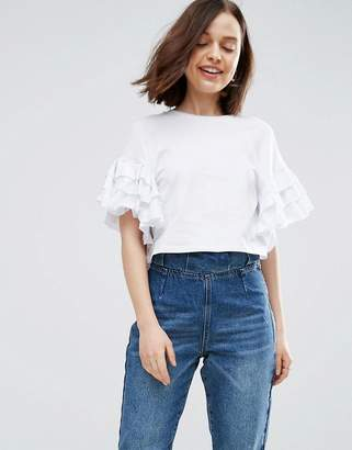 ASOS Crop T-Shirt With Ruffle Sleeve $25 thestylecure.com