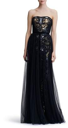 Marchesa Strapless Sequined Tulle-Overlay Gown