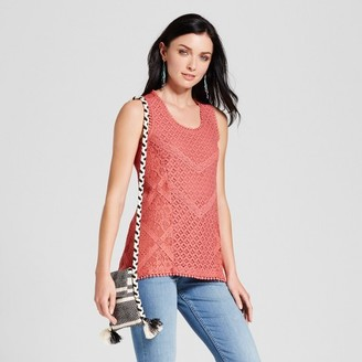 Knox Rose Women's Lace Front Knit Back Tank $22.99 thestylecure.com