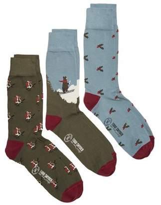 Corgi Robins, Holly & Skiing Bear Cotton 3 sock Gift Box