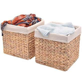 StorageWorks Water Hyacinth Hand-Woven Storage Basket with Iron Wire Frame, with Linen Lining, 2-Pack, Large, Foldable