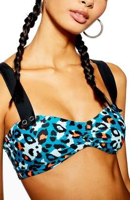 Topshop Animal Print Bandeau Bikini Top