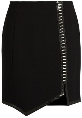 MUGLER Leather-trimmed wool mini skirt $1,091 thestylecure.com