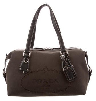 prada Prada Leather-Trimmed Woven Bag