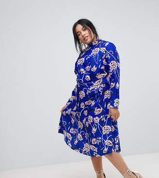Asos Bright Floral High Neck Midi Dress