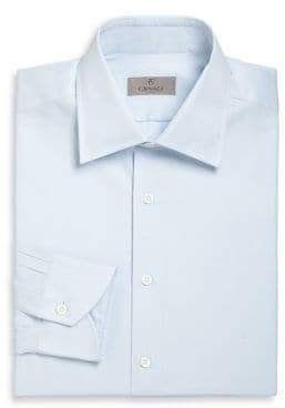 Canali Solid Cotton Dress Shirt