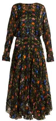 Preen by Thornton Bregazzi Bergamot Floral Print Silk Blend Devore Dress - Womens - Black Multi