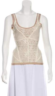 Herve Leger Sleeveless Scoop Neck Top