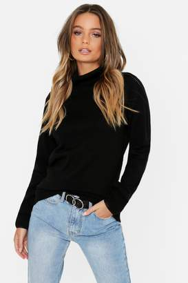 boohoo Roll Neck Knitted Top