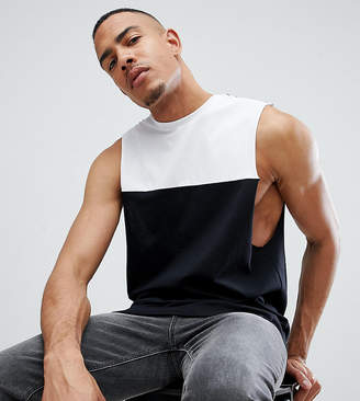Asos DESIGN Tall tank with dropped armholes and contrast yoke panel