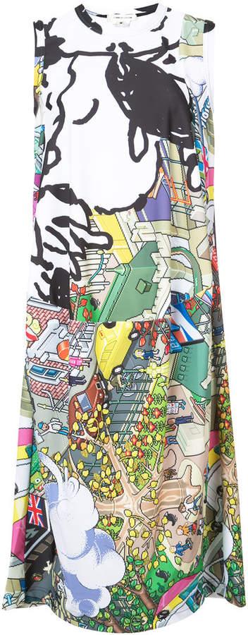 cartoon cityscape printed dress