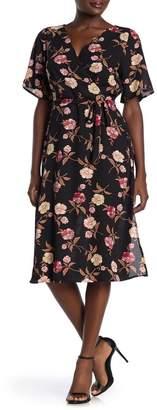 Rowa ROW A Floral Print Waist Tie Dress