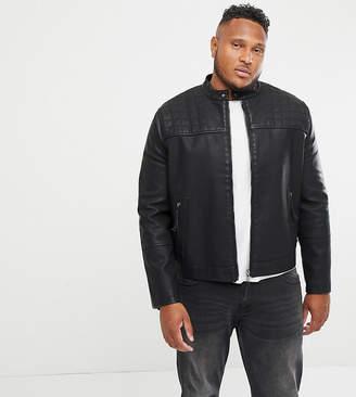 New Look Plus faux leather biker jacket in black