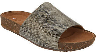 Clarks Embossed Leather Slides -Rosilla Hollis