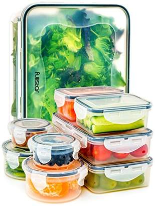 clear Food Storage Containers with Lids - Airtight Leak Proof Easy Snap Lock and BPA Free Plastic Container Set for Kitchen Use by Fullstar (18 Piece Set)
