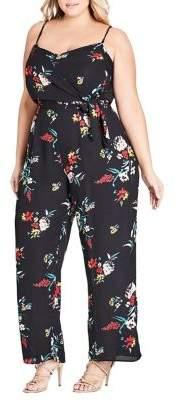 City Chic Plus Floral Fit-&-Flare Jumpsuit