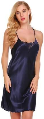 Fanala Womens Nightgown Halter Sleepwear Sexy Satin Full Slip Lingerie Sleepwear