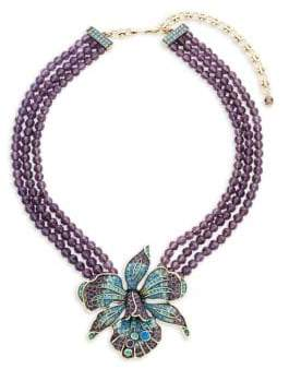Heidi Daus Crystal Orchid Triple Beaded Necklace