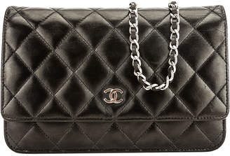 Chanel Black Quilted Lambskin Classic Wallet On Chain