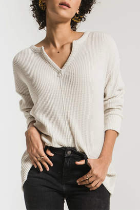 Z Supply Waffle Thermal Split Neck Sweater