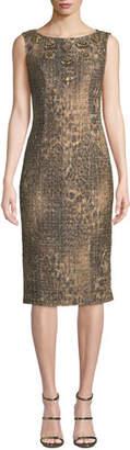 Badgley Mischka Sleeveless Leopard Sequin Dress