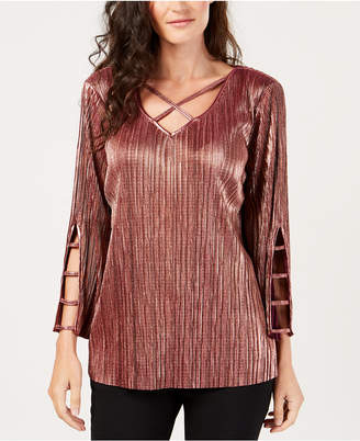JM Collection Petite Pleated Metallic Top