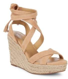Splendid Janice Crisscross Leather Wedge Espadrilles