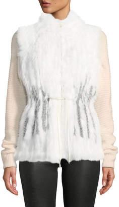 Metric Furs Anorak Zip-Front Fur Vest W/ Contrast