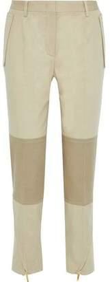 Alberta Ferretti Cropped Two-tone Cotton-blend Twill Tapered Pants