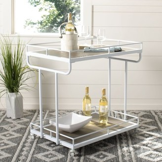 Safavieh Dawson 2 Tier Modern Glam Rectangle Bar Cart with Casters