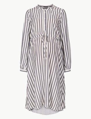 Marks and Spencer Maternity Striped Shirt Midi Dress