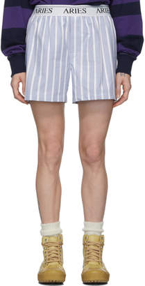 Aries Blue and White Stripe Boxer Shorts