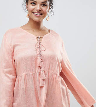 Glamorous Curve Blouse With Tassle Ties And Ruffle Hem In Floral Fabric