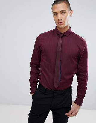Asos Design Slim Shirt In Herringbone With Double Cuff & Cutaway Collar In Burgundy