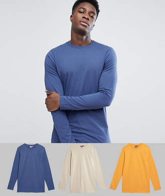 Asos DESIGN 3 pack long sleeve longline crew neck t-shirt SAVE