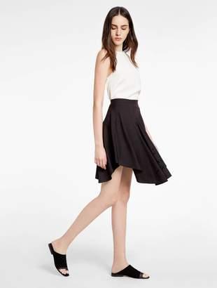 Halston Embroidered Flounce Skirt