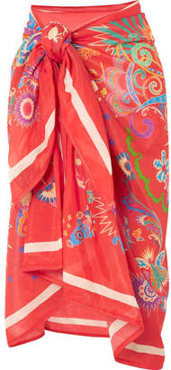 Etro Printed Cotton And Silk-blend Pareo - Red