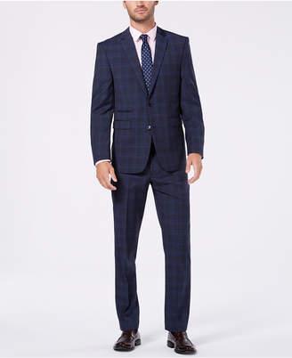 Vince Camuto Men's Slim-Fit Stretch Medium Blue Wool Plaid Suit
