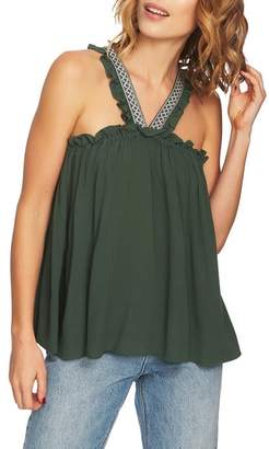 1 STATE 1.STATE Embroidered Crinkle Gauze Babydoll Top