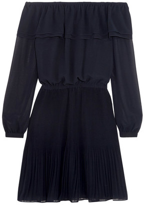 MICHAEL Michael Kors - Off-the-shoulder Ruffled Chiffon Mini Dress - Navy $155 thestylecure.com
