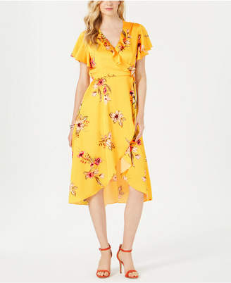 Julia Jordan Printed Faux-Wrap Dress