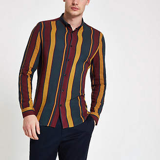 River Island Navy and burgundy stripe long sleeve shirt