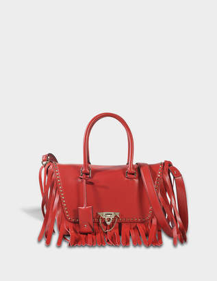 Valentino Demi-Lune Small Double Handle Bag with Fringes in Red Lambskin Leather
