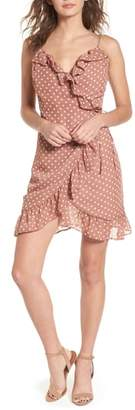 BP Polka Dot Ruffle Wrap Dress