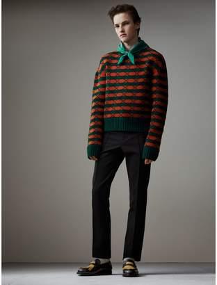 Burberry Geometric Wool Cotton Blend Sculptural Sweater