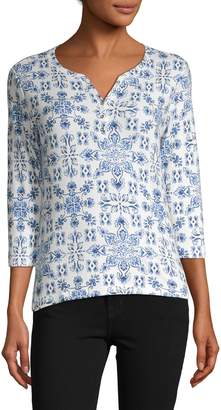 Karen Scott Petite Floral Cotton-Blend Top