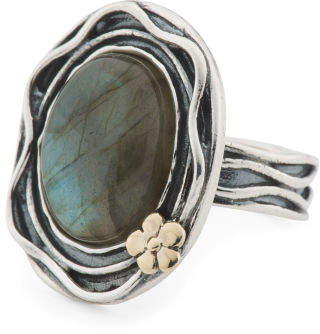 Made In Israel 14k And Sterling Silver Labradorite Ring