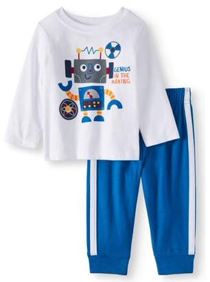 Garanimals Long Sleeve Graphic T-Shirt & Jersey Jogger Pants, 2pc Outfit Set (Baby Boys)