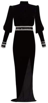 Balmain Crystal Embellished Velvet Gown - Womens - Black