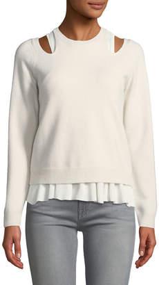 Derek Lam 10 Crosby Stretch-Wool Layered Cutout Sweater